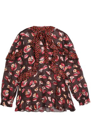 ANNA SUI Panled ruffled pussy bow blouse