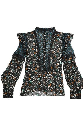 ANNA SUI Paneled printed silk top