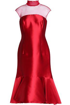 SACHIN & BABI Point d'esprit-paneled fluted satin midi dress