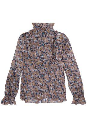 ANNA SUI Ruffle-trimmed metallic floral-print stretch silk-georgette top