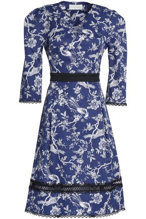 SACHIN & BABI Lace-trimmed jacquard dress