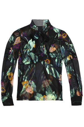 ANNA SUI Pussy bow printed silk-chiffon blouse