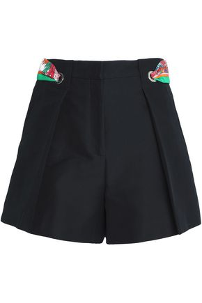 EMILIO PUCCI Printed satin-trimmed pleated cotton-cady shorts