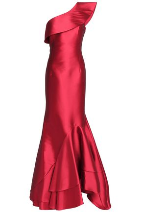 SACHIN & BABI One-shoulder fluted satin gown