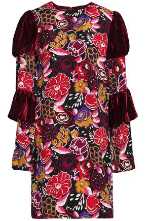 ANNA SUI Paneled velvet and printed silk mini dress