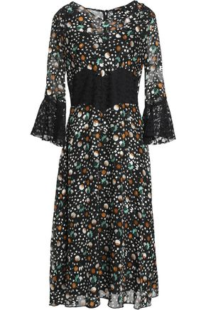 ANNA SUI Paneled printed lace and chiffon midi dress