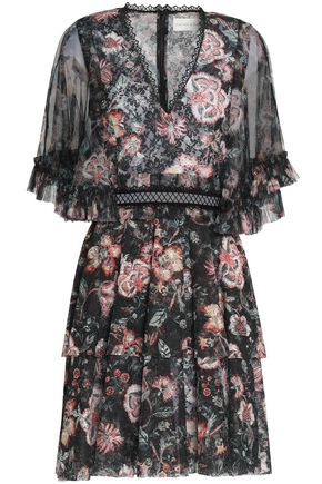 SACHIN & BABI Ruffled floral-print chiffon mini dress