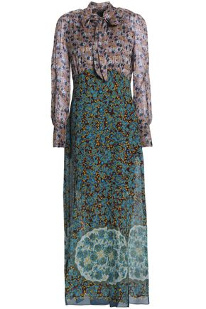 ANNA SUI Pussy-bow printed silk-blend maxi dress
