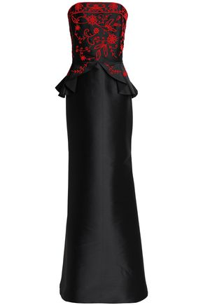 SACHIN & BABI Strapless embroidered taffeta gown