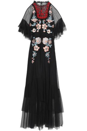 SACHIN & BABI Ruffled embroidered tulle gown