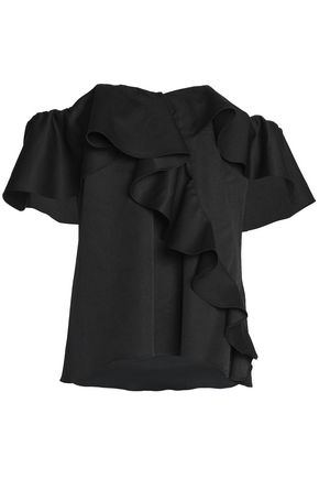 SACHIN & BABI Off-the-shoulder ruffled crepe de chine top