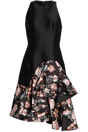 SACHIN & BABI Paneled asymmetric ruffled printed taffeta dress