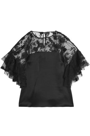 SACHIN & BABI Paneled emboirdered tulle and silk ruffled top