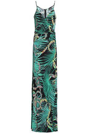 JUST CAVALLI Wrap-effect printed crepe maxi dress