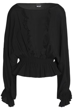 JUST CAVALLI Ruffle-trimmed crepe peplum top