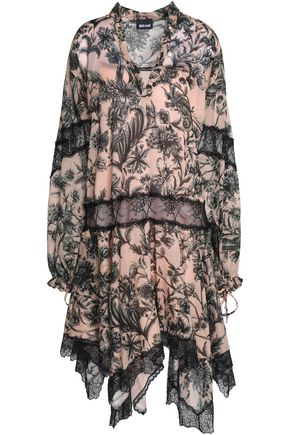 JUST CAVALLI Printed draped paneled cotton and lace dress