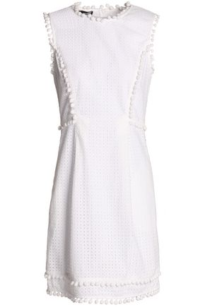 LOVE MOSCHINO Pompom-trimmed broderie anglaise cotton mini dress