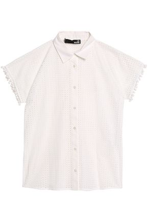 Love Moschino Woman Pompom-embellished Broderie Anglaise Cotton Mini Dress White Size 46 Love Moschino 2vxzdKdMfg
