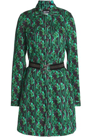 JUST CAVALLI Belted Printed cady mini dress
