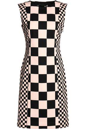 LOVE MOSCHINO Paneled two-tone checked cotton mini dress