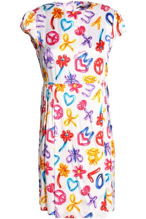 LOVE MOSCHINO Printed satin-jersey mini dress