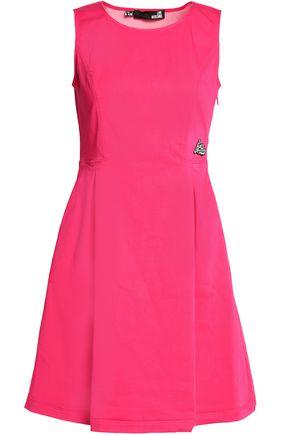 LOVE MOSCHINO Appliqu�d pleated cotton-blend mini dress