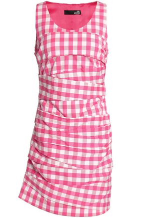 LOVE MOSCHINO Ruched gingham cotton mini dress