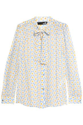 LOVE MOSCHINO Pussy-bow floral-print chiffon blouse
