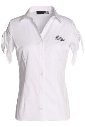 LOVE MOSCHINO Appliquéd stretch cotton-poplin shirt
