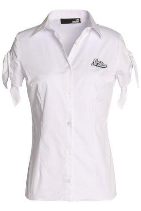 LOVE MOSCHINO Appliqu�d stretch cotton-poplin shirt