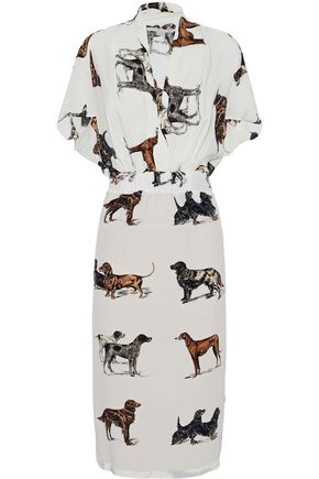 STELLA McCARTNEY Cutout printed silk crepe de chine dress
