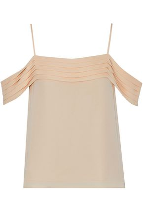 T by ALEXANDER WANG Cold-shoulder pleated silk crepe de chine camisole