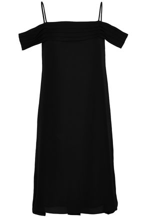 T by ALEXANDER WANG Cold-shoulder pleated silk crepe de chine dress