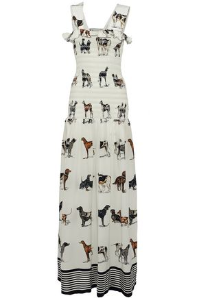 STELLA McCARTNEY Ruffle-trimmed smocked printed silk maxi dress