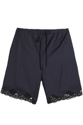 ALEXANDER WANG Lace-trimmed pinstriped wool shorts