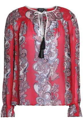 JUST CAVALLI Tasselled printed chiffon blouse