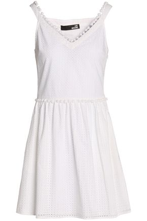 LOVE MOSCHINO Pompom-embellished broderie anglaise cotton mini dress