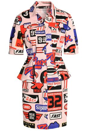LOVE MOSCHINO Printed denim mini dress