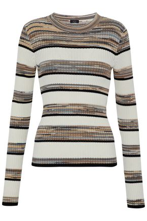 JOSEPH Marled striped ribbed cotton-blend top