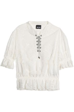 JUST CAVALLI Lace-up cotton lace top