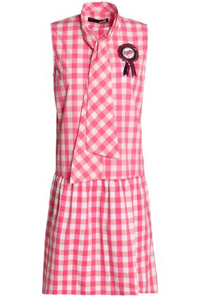 LOVE MOSCHINO Gingham cotton mini dress