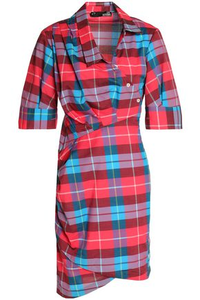 LOVE MOSCHINO Asymmetric checked cotton-poplin mini dress