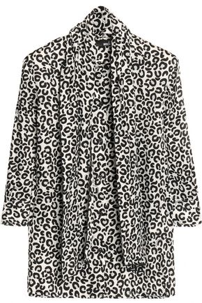 LOVE MOSCHINO Pussy bow leopard-print crepe top
