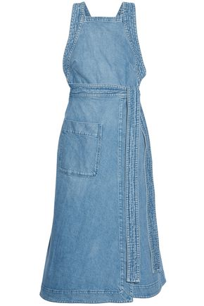 STELLA McCARTNEY Wrap-effect denim midi dress