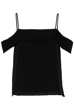 T by ALEXANDER WANG Cold-shoulder pleated silk crepe de chine top