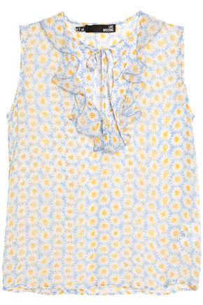 LOVE MOSCHINO Ruffled floral-print chiffon blouse