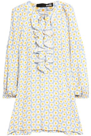 LOVE MOSCHINO Ruffled pussy-bow floral-print crepe mini dress