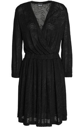 JUST CAVALLI Wrap-effect crochet-knit mini dress