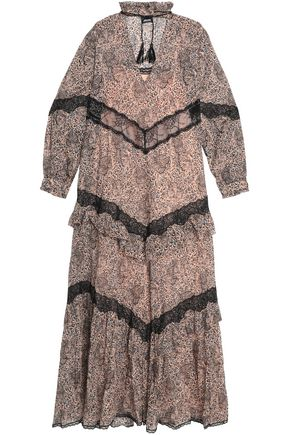 JUST CAVALLI Paneled lace and printed cotton chiffon maxi dress