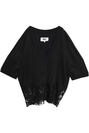 MM6 MAISON MARGIELA Corded lace-paneled jersey top